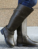 cheap -Women's Boots Chunky Heel Round Toe PU Solid Colored Dark Brown Green Black