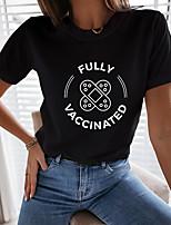 cheap -Women's Painting T shirt Text Game Print Round Neck Basic Tops White Black