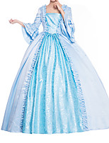 cheap -Ball Gown Elegant Vintage Halloween Quinceanera Dress Square Neck 3/4 Length Sleeve Floor Length Satin with Bow(s) Ruffles 2021