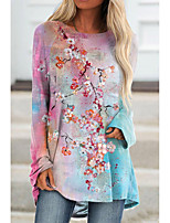 cheap -Women's Floral Theme Painting T shirt Floral Graphic Long Sleeve Print Round Neck Basic Tops Blushing Pink / 3D Print