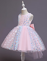 cheap -Kids Little Girls' Dress Flower Party Special Occasion Mesh Bow Blue Purple Blushing Pink Knee-length Sleeveless Cute Sweet Dresses Children's Day Fall Winter Slim 2-6 Years / Spring / Summer