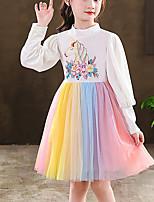 cheap -Kids Little Girls' Dress Rainbow Unicorn Flower Party Birthday Embroidered Mesh Bow Blue White Knee-length Long Sleeve Princess Sweet Dresses Fall Winter Regular Fit 3-12 Years