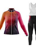 cheap -21Grams Women's Long Sleeve Cycling Jersey with Bib Tights Summer Spandex Polyester Orange Gradient 3D Graffiti Bike Clothing Suit 3D Pad Quick Dry Moisture Wicking Breathable Back Pocket Sports