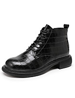 cheap -Women's Boots Flat Heel Round Toe Booties Ankle Boots Daily Work PU Solid Colored Black