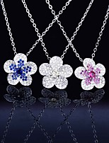 cheap -Pendant Necklace Necklace Women's Classic Cubic Zirconia Flower Simple Fashion Classic Casual / Sporty Sweet Cute Yellow Blue Rose Red 45 cm Necklace Jewelry 1pc for Street Gift Daily Prom Festival