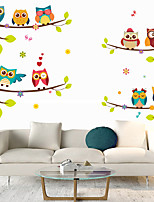 cheap -Cartoon Owl Branch Wall Stickers Living Room Kids Room Kindergarten Removable Pre-pasted PVC Home Decoration Wall Decal 2pcs
