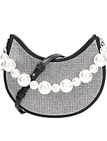 cheap -Women's Bags PU Leather Evening Bag Pearls Crystals Rhinestone Party / Evening Daily Evening Bag Handbags Chain Bag White Black