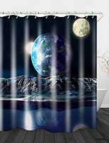 cheap -Beautiful View of full Moon Printed Waterproof Fabric Shower Curtain Bathroom Home Decoration Covered Bathtub Curtain Lining Including hooks.