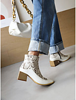 cheap -Women's Boots Block Heel Square Toe Booties Ankle Boots Daily Work Nubuck PU Snake Yellow Blue White / Booties / Ankle Boots