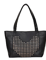 cheap -Women's Bags PU Leather Tote Rivet Vintage Daily Date Leather Bag Black