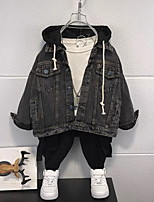 cheap -Kids Boys' Coat Long Sleeve Blue Black Plain Letter Pocket Cotton School Formal Active Basic 3-8 Years / Fall / Spring