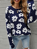 cheap -Women's Pullover Sweater Knitted Floral Stylish Casual Soft Long Sleeve Sweater Cardigans Crew Neck Fall Winter Navy Blue