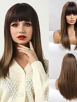 cheap -Long Straight Wig with Bangs Ombre Brown Wigs for Women Long Synthetic Wigs Suitable for Daily Party (22 Inch, Ombre Brown)