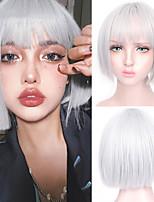 cheap -Short Hair Straight Hair Wig Synthetic Hair Wig Women Brown Bangs Wig Cosplay