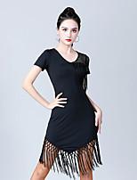cheap -Latin Dance Dress Tassel Women's Training Performance Short Sleeve High Nylon