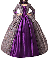 cheap -Ball Gown Elegant Vintage Halloween Quinceanera Dress Square Neck Long Sleeve Floor Length Cotton Blend with Bow(s) Strappy 2021