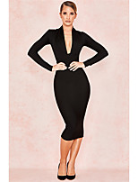 cheap -Mermaid / Trumpet Minimalist bodycon Homecoming Cocktail Party Dress V Neck Long Sleeve Tea Length Polyster with Sleek 2021