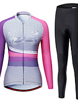 cheap -21Grams Women's Long Sleeve Cycling Jersey with Tights Spandex Rose Red Bike Quick Dry Moisture Wicking Sports Graphic Mountain Bike MTB Road Bike Cycling Clothing Apparel / Stretchy / Athletic