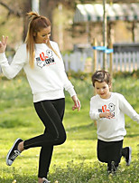cheap -Halloween Tops Family Look Ghost Letter Daily Print Gray White Long Sleeve Daily Matching Outfits / Fall / Winter / Cute