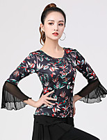 cheap -Latin Dance Ballroom Dance Top Printing Splicing Tulle Women's Training Performance Long Sleeve High Polyester