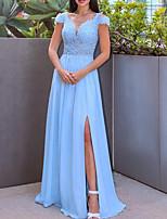 cheap -A-Line Elegant Engagement Formal Evening Dress Jewel Neck Short Sleeve Floor Length Chiffon Lace Tulle with Split Appliques 2021