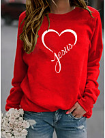 cheap -Women's Sweatshirt Graphic Heart Letter Print Sports & Outdoor Casual Daily Hot Stamping Basic Hoodies Sweatshirts  Wine Red Yellow Gray