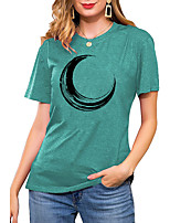 cheap -Women's T shirt Graphic Print Round Neck Basic Vintage Tops Regular Fit Blue Blushing Pink Wine