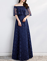 cheap -A-Line Minimalist Elegant Wedding Guest Formal Evening Dress Off Shoulder Half Sleeve Floor Length Lace Tulle with Sash / Ribbon Pleats Pattern / Print 2021