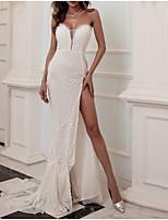 cheap -Sheath / Column Glittering Sparkle Party Wear Formal Evening Dress Sweetheart Neckline Sleeveless Court Train Sequined with Split 2021