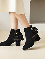 cheap -Women's Boots Chunky Heel Pointed Toe Booties Ankle Boots Daily Work Nubuck Bowknot Plaid Almond Black / Booties / Ankle Boots