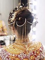 cheap -1 Piece Bride Headdress Chinese Wedding Golden Tassel Step Shaking Ancient Costume Full Set Wedding Atmosphere Clothing Accessories