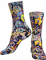 cheap -Socks Cycling Socks Men's Women's Bike / Cycling Breathable Soft Comfortable 1 Pair Floral Botanical Cotton Blue S M L / Stretchy