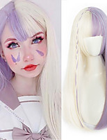 cheap -Long straight hair band bangs purple white high temperature resistant synthetic wig African American girl girl Cosplay wig