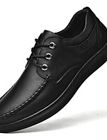 cheap -Men's Loafers & Slip-Ons Lace up Leather Shoes Comfort Loafers Business Casual Classic Daily Outdoor Leather Cowhide Handmade Non-slipping Shock Absorbing Black Fall Winter