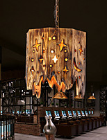 cheap -LED Pendant Light 40 cm Island Design Pendant Light Wood / Bamboo Vintage Style Hollow Out Vintage Country 220-240V