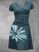 cheap -Women's A Line Dress Midi Dress Black Dark Blue Short Sleeve Floral Print Print Summer V Neck Casual 2021 S M L XL XXL 3XL