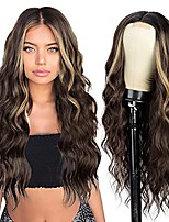 cheap -Long Brown Wavy Wig,Long Wavy Middle Part Wig for Women Synthetic Curly Wavy Wigs Natural Wavy Heat Resistant Wig for Daily Party Use (Brown Mixed Blonde,24Inch)