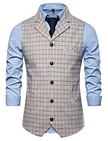 cheap -Men's Vest Gilet Business Work Fall Winter Regular Coat Regular Fit Thermal Warm Business Casual Jacket Sleeveless Plaid / Check Pocket White Coffee