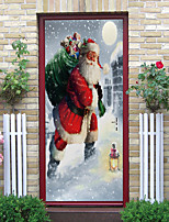 cheap -2pcs Santa Claus Self-adhesive Door Stickers With Christmas Gifts For Living Room Diy Decoration Home Waterproof Wall Stickers 77x200cm