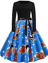 cheap -Pumpkin Audrey Hepburn Dress Swing Dress Adults' Women's Vintage Festival Halloween New Year Festival / Holiday Terylene Black / Orange / Blue / Rainbow Women's Easy Carnival Costumes Pumpkin / Belt