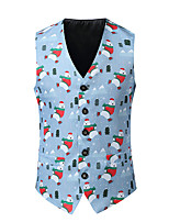 cheap -Men's Down Vest Christmas Fall Winter Regular Coat Single Breasted V Neck Regular Fit Warm Casual Jacket Sleeveless 3D Print Print Print Light Blue