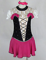 cheap -Figure Skating Dress Women's Girls' Ice Skating Dress Black Patchwork Spandex Lace High Elasticity Competition Skating Wear Crystal / Rhinestone Half-Sleeve Ice Skating Figure Skating / Kids