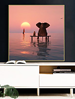 cheap -Wall Art Canvas Prints Painting Artwork Picture Landscape Elephant Interest Home Decoration Decor Rolled Canvas No Frame Unframed Unstretched