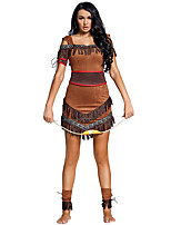 cheap -American Indian Indian Girl Cosplay Costume Adults' Women's Halloween Halloween Halloween Carnival Festival / Holiday Terylene Brown Women's Easy Carnival Costumes Solid Color / Skirt / Belt