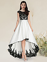 cheap -A-Line Elegant Engagement Formal Evening Dress Jewel Neck Sleeveless Asymmetrical Ankle Length Satin with Appliques 2021
