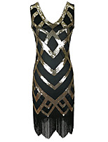 cheap -A-Line Elegant Vintage Holiday Party Wear Dress V Neck Sleeveless Knee Length Cotton Blend with Sequin Tassel Splicing 2021