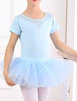 cheap -Ballet Leotard Gymnastics Leotards Girls' Kids Skirt Leotard Dancewear Spandex Cotton High Elasticity Quick Dry Breathable Sweat wicking Solid Color Short Sleeve Training Competition Ballet Dance