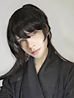 cheap -Synthetic Wig Natural Straight Neat Bang Wig Long Black Synthetic Hair Men's Cosplay Soft Party Black