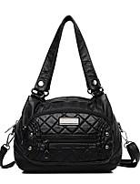 cheap -Women's Bags PU Leather Top Handle Bag Zipper Solid Color Vintage Daily Retro Handbags Black Brown