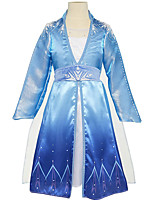 cheap -Princess Dress Cosplay Costume Kid's Girls' Dresses Halloween Halloween Halloween Festival / Holiday Polyster Blue Easy Carnival Costumes Solid Color / Cloak